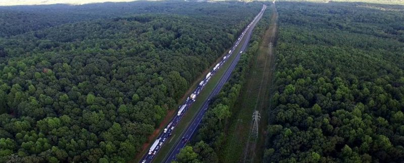 Aerial View of Major Fatal Traffic Accident Backup – I-85